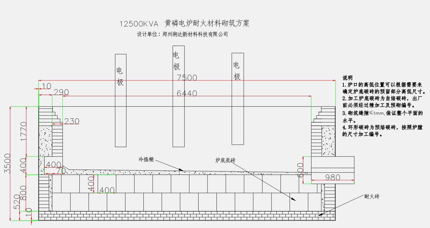 黄磷电炉耐火砖砌筑方案